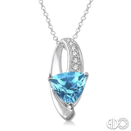 Trillion cut blue topaz and diamond pendant in sterling silver with trillion cut blue topaz and diamond pendant in sterling silver with chain aloadofball Images