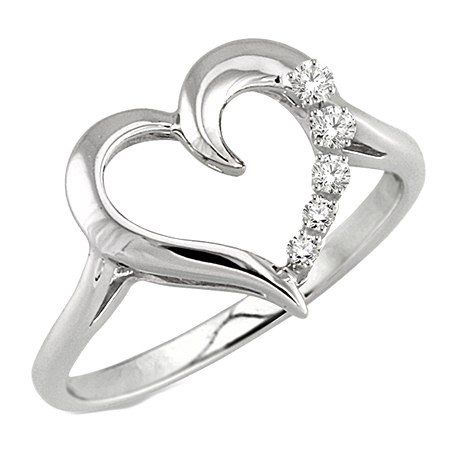 Ashi Sterling Silver Diamond Journey Heart Ring .03Ct  Ring Special! Reg $120