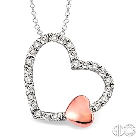 "Sterling Silver Diamond Heart Pendant With Rose Gold Overlay Mini Heart 18"" Chain"