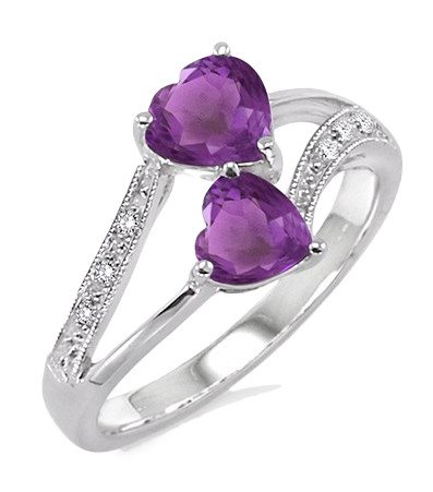 Double Heart Shape Purple Amethyst and Diamond Ring in Sterling Silver