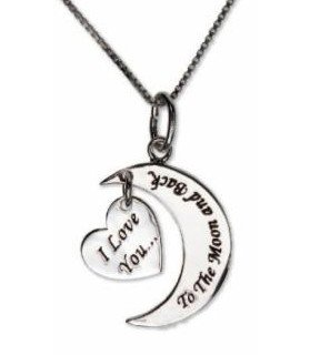 Sterling I Love You To the Moon & Back Necklace w/ Heart