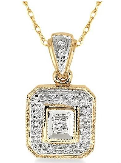 Pendant Diamond Pave Set 10Kyg Pendant 0.05Ct Tw Ashi Diamo