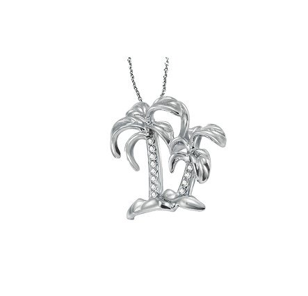 14K White Gold Diamond Palm Tree Necklace 0.05Ctw