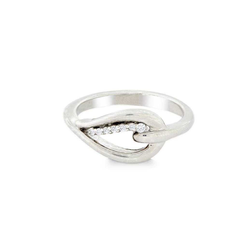 Sterling Silver Diamond Teardrop Side Ring  .05ct: Size 6
