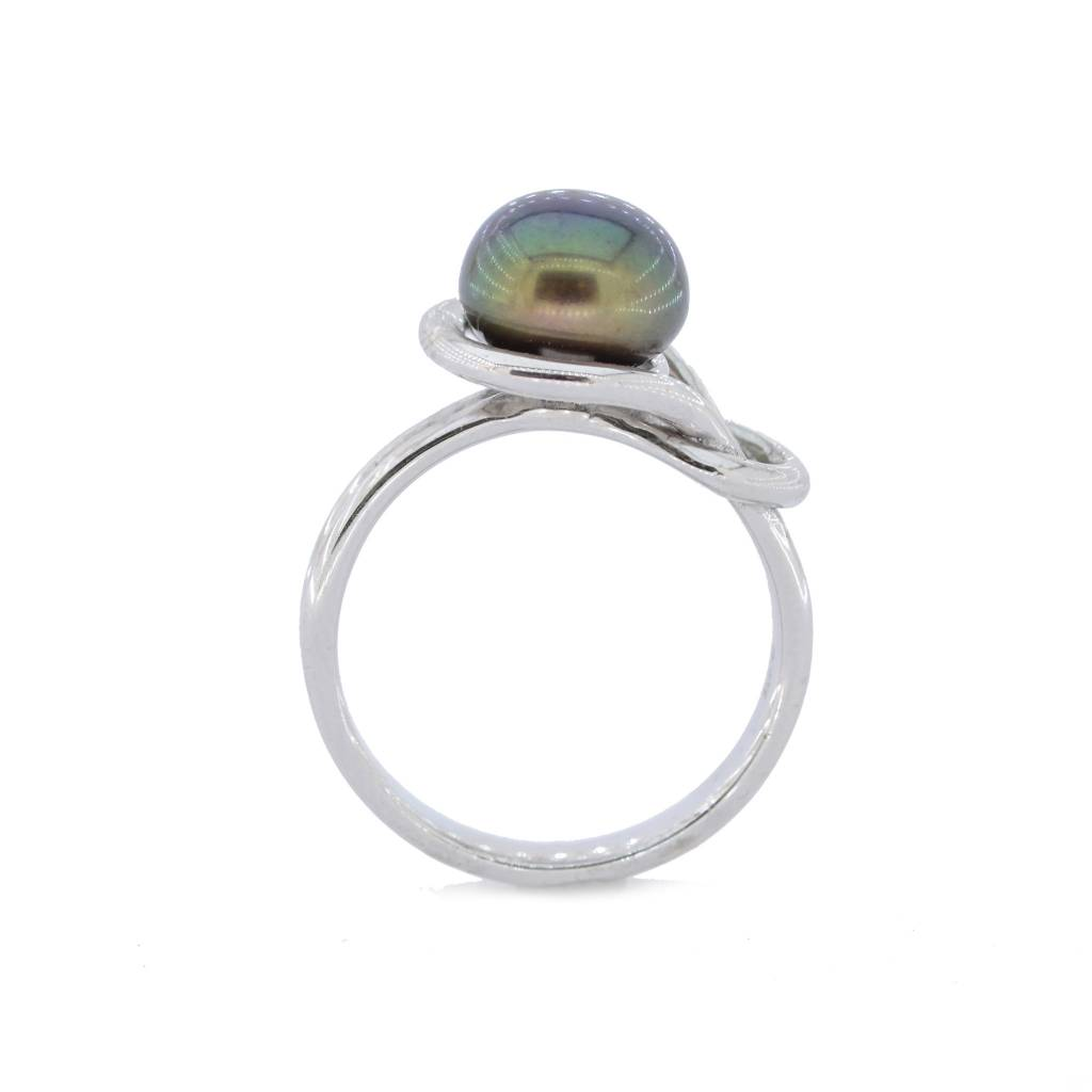Sterling Silver Peacock Love Knot Dyed Pearl Ring Size 7