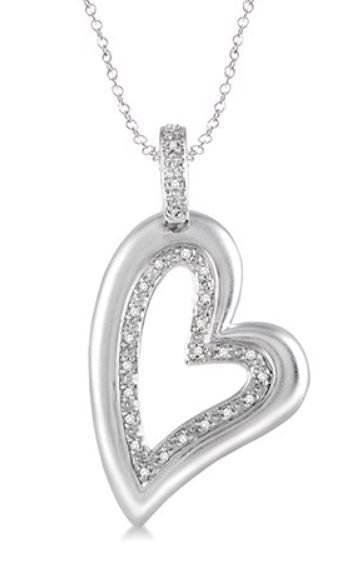 """Diamond Heart Pendant in Sterling Silver with 18"""" Chain"""