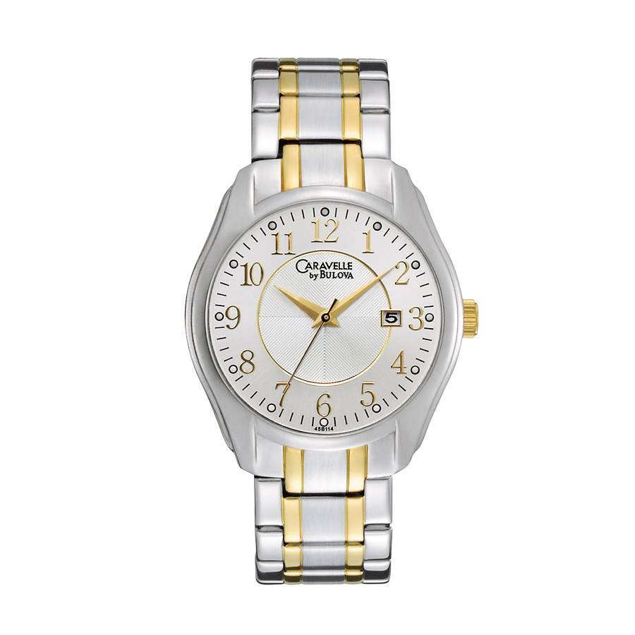 Bulova Men's Watch Two Tone Yellow Stripe SW CAL