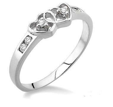 Sterling Silver Two Stone Diamond Heart Promise or Engagement Ring