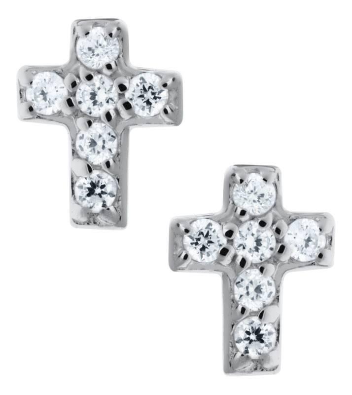 Earrings Safety Screw Backs Sterling Cross w/cz