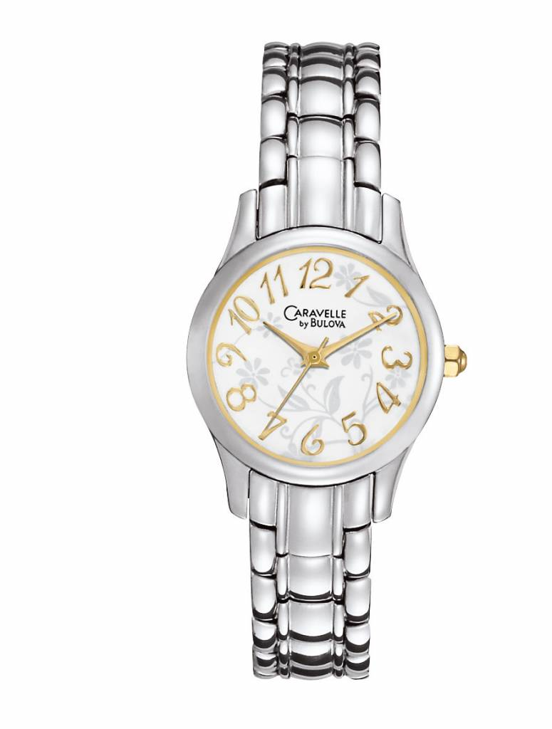 BULOVA LADIE'S WATCH two tone with floral background