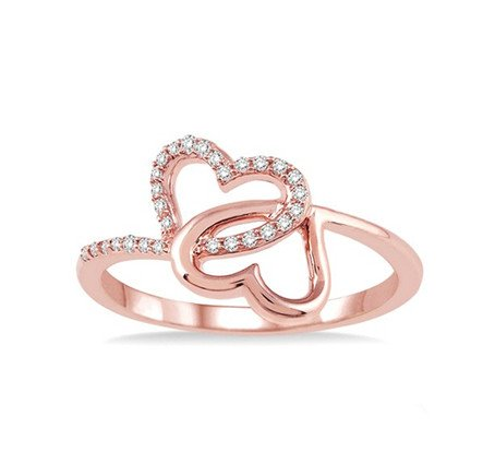 Entwined Hearts rose gold ring with diamonds 10kt .10cttw