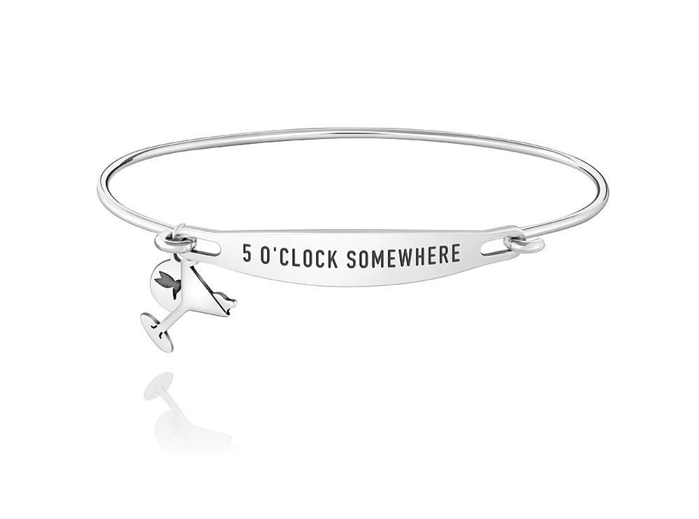 Chamilia Spoken Bracelet Five O Clock Somewhere Id Bangle Sterling Silver Sz