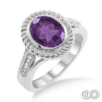 Ashi 10x8 MM Oval Cut Purple Amethyst and 1/20 Ctw Single Cut Diamond Ring in Sterling Silver