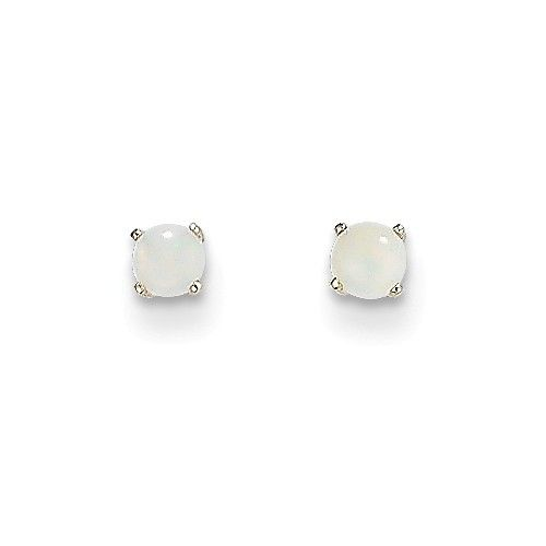14k White Gold 3mm Opal Stud Earrings