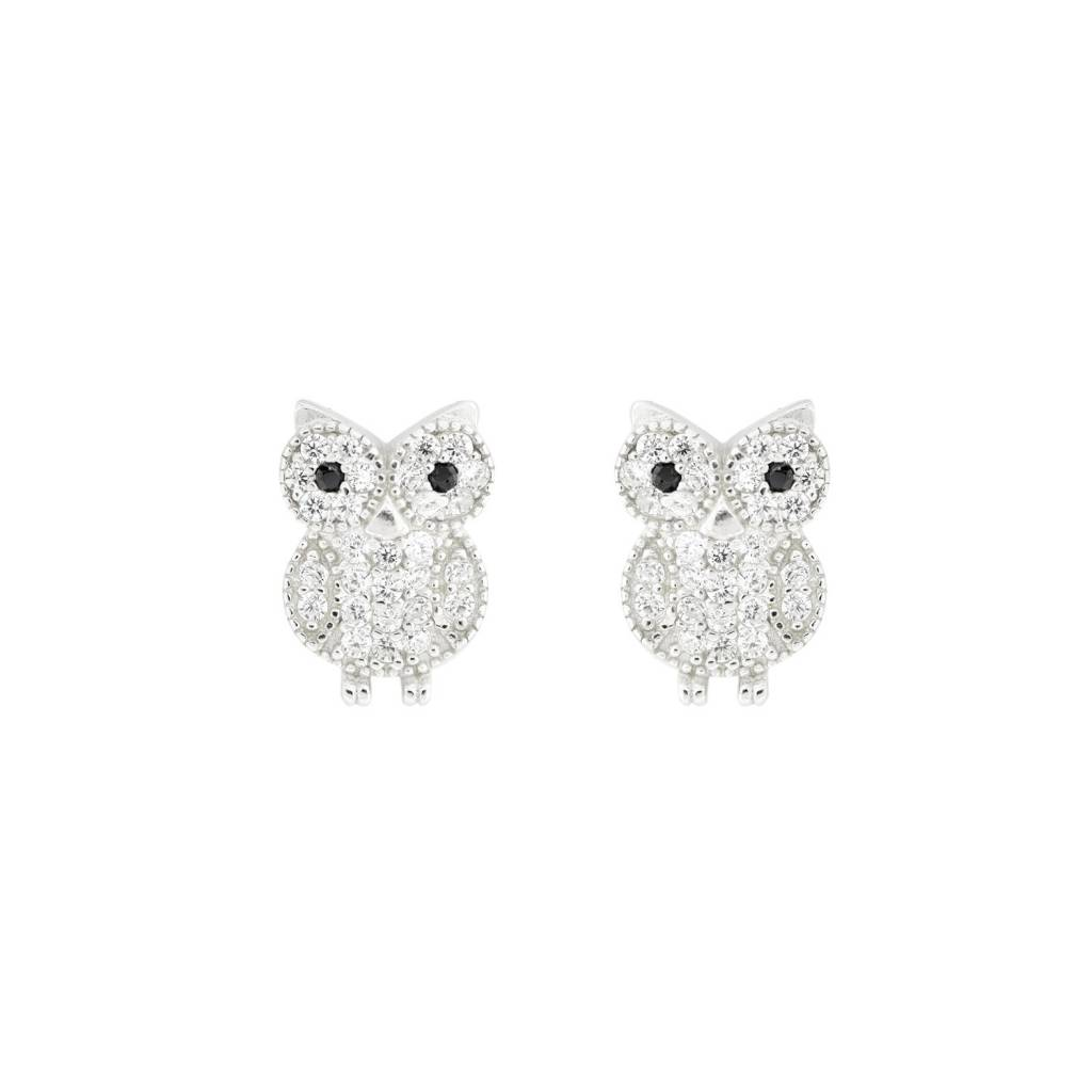 Sterling Silver Rhodium Plated Cz Owl Stud Earrings Heather S Jewelry
