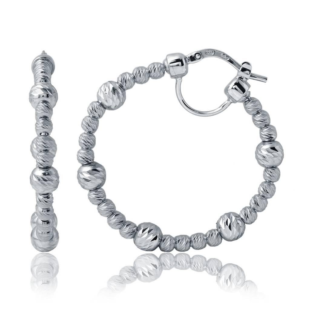 Charles Garnier 35mm Maureen Circle Bead Sterling Silver Hoop Earrings