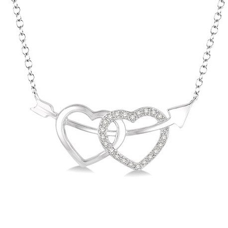 1/20 Ctw Round Cut Diamond Twin Heart Pendant in Sterling Silver with Chain