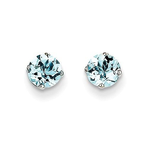 14k White Gold 5mm Aquamarine Stud Earrings