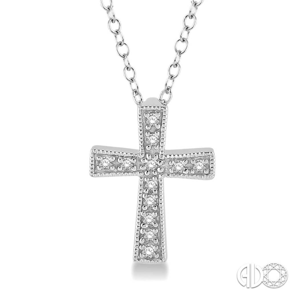Ashi 1/20 Ctw Single Cut Diamond Cross Pendant in Sterling Silver with Chain