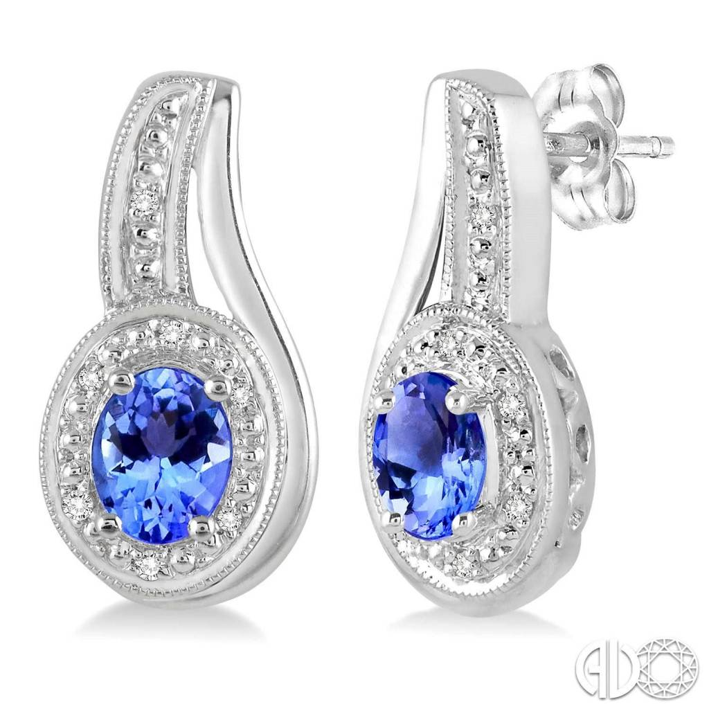 Ashi 5x3 MM Oval Cut Tanzanite and 1/30 Ctw Round Cut Diamond Earrings in Sterling Silver
