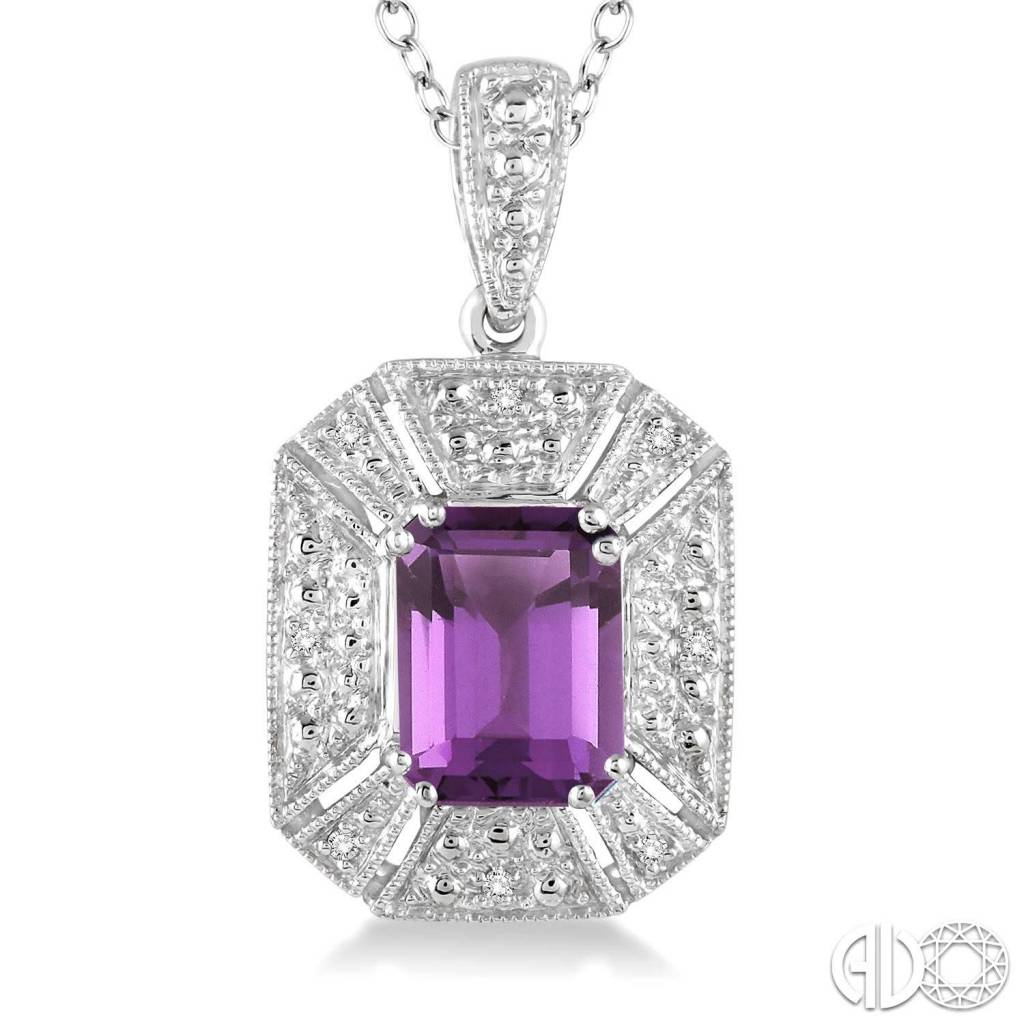 8x6 mm Emerald Cut Purple Amethyst and 1/30 Ctw Single Cut Diamond Pendant in Sterling Silver with Chain
