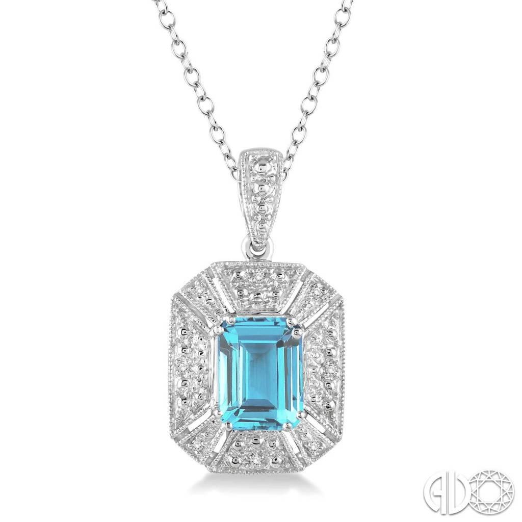 Ashi 8x6 mm emerald cut blue topaz and 130 ctw single cut diamond ashi 8x6 mm emerald cut blue topaz and 130 ctw single cut diamond pendant aloadofball Choice Image