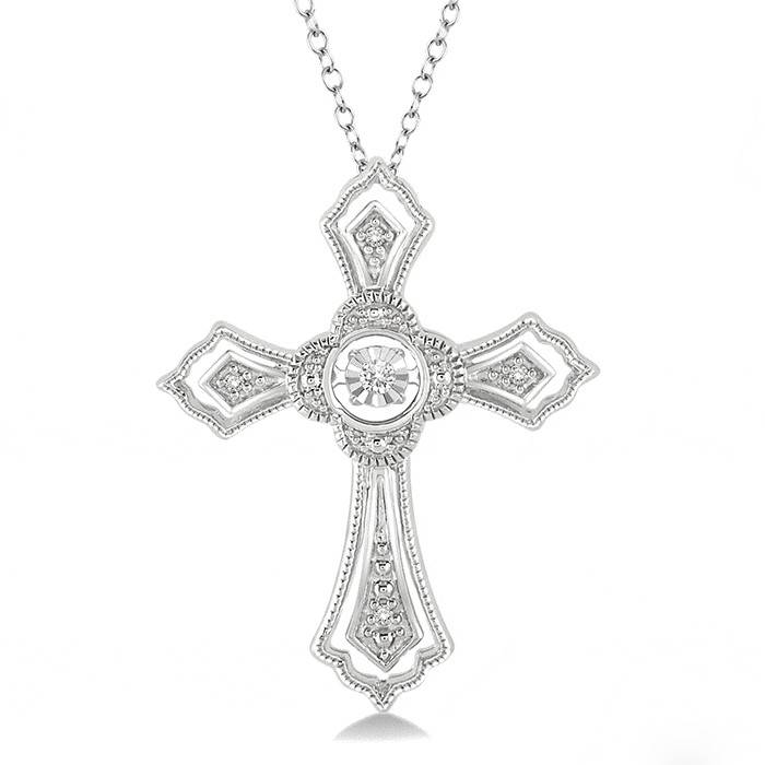 Sterling Silver and Dancing DIamond Cross Necklace 0.05ctw