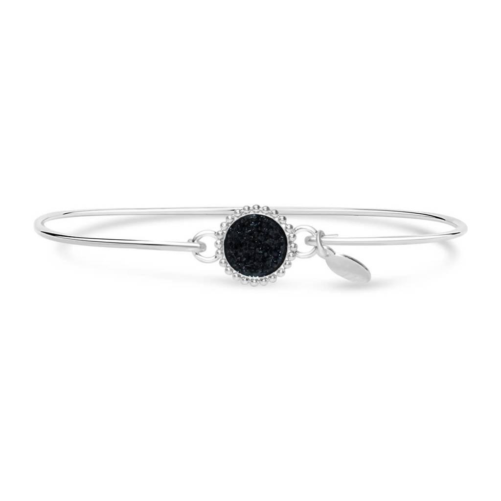 Stia Stia Sterling Silver Cuff Druzy Beaded Edge Mini Bracelet - Black