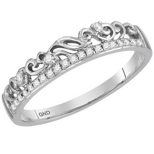 10kt White Gold and Diamond Stackable Crown fashion Ring 1/12ct