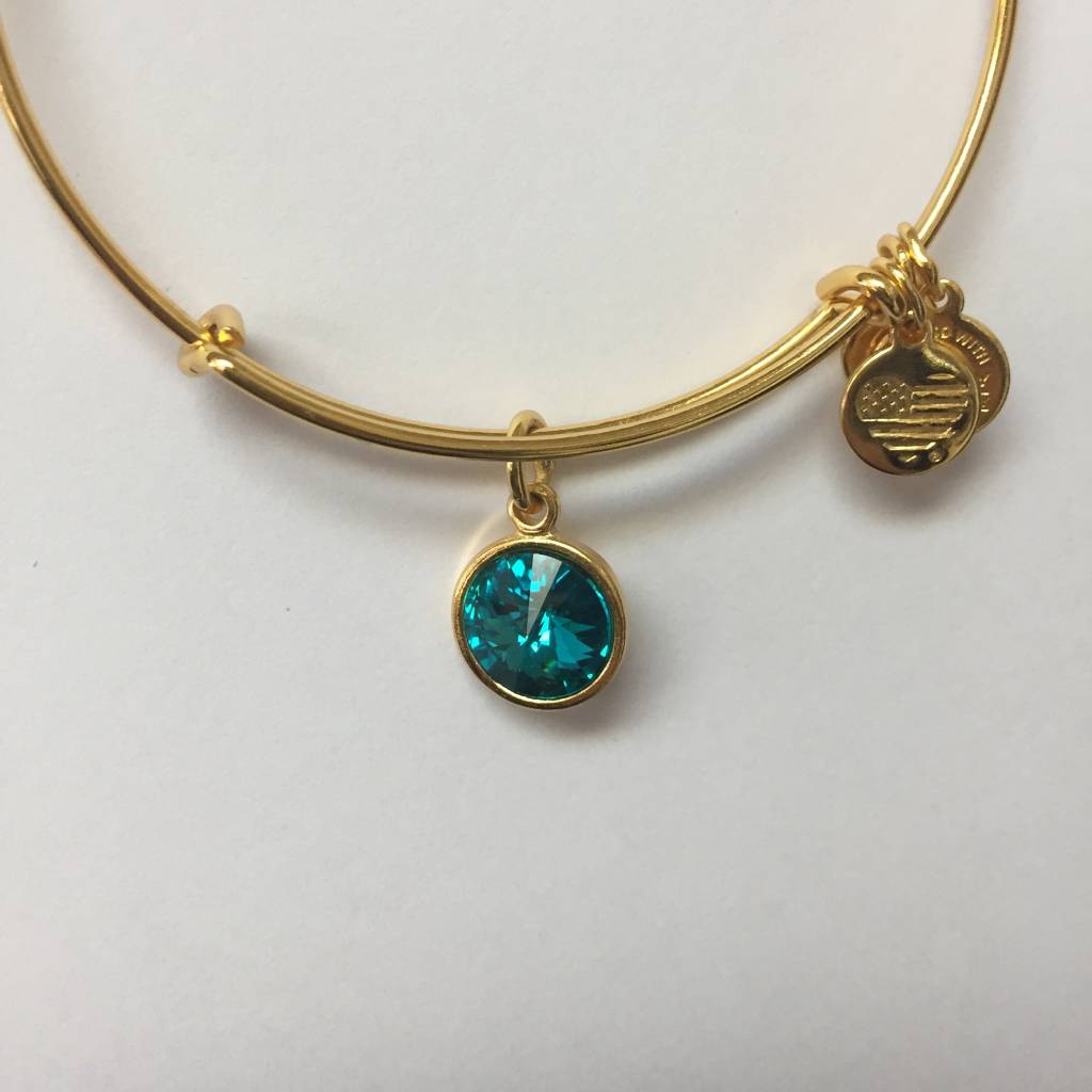 Alex And Ani Bracelet Birthstone December Blue Zircon Shiny Yellow Finish