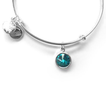 Alex And Ani Bracelet Birthstone December Blue Zircon Shiny Silver Finish