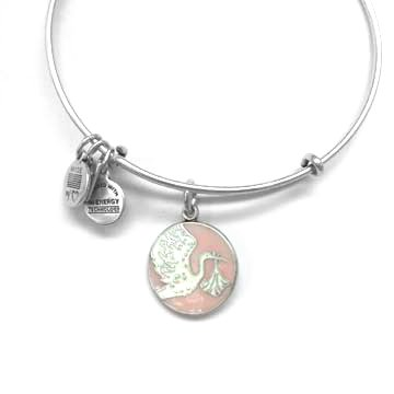 Alex and Ani Alex & Ani Bracelet Special Delivery Expandable Wire Bangle - Pink Rafaelian Silver Finish