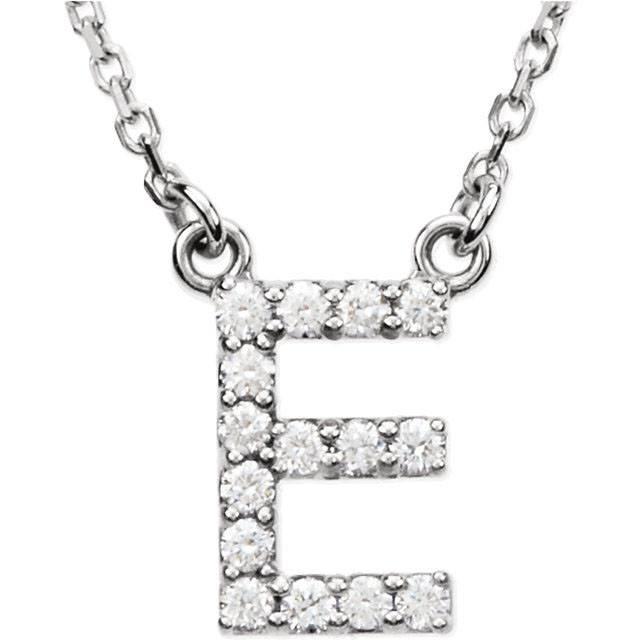 "14K White Letter ""E"" 1/6 CTW Diamond 16"" Necklace"