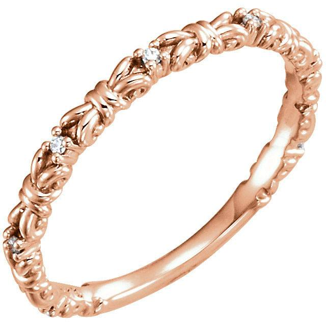 14K Rose .04 CTW Diamond Stackable Ring Size 7