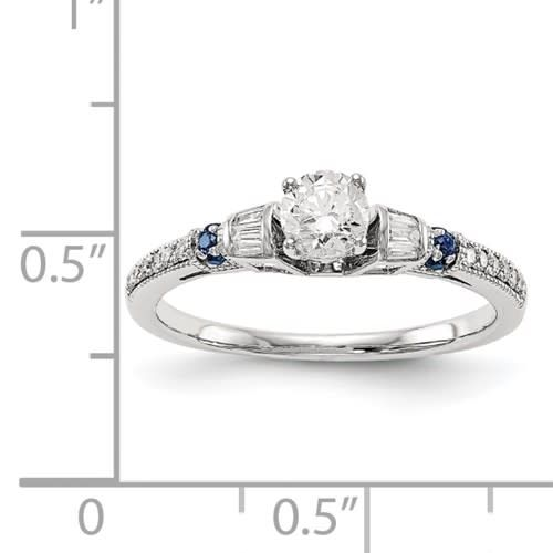 14k White Gold Diamond and Sapphire Engagement Ring 0.46ctw