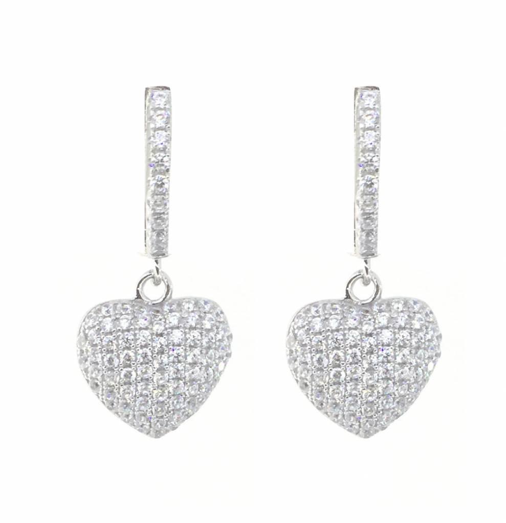 Sterling Silver Swarovski Crystal Puff Heart Dangle Earrings