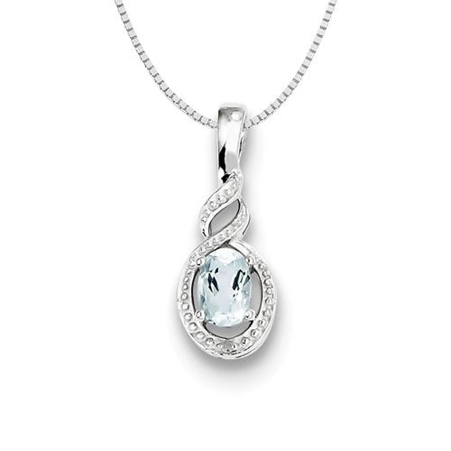 Sterling silver aquamarine diamond pendant on 18in box chain aloadofball Image collections
