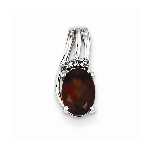 Sterling Silver Rhodium Plated Diamond & Garnet Oval Necklace