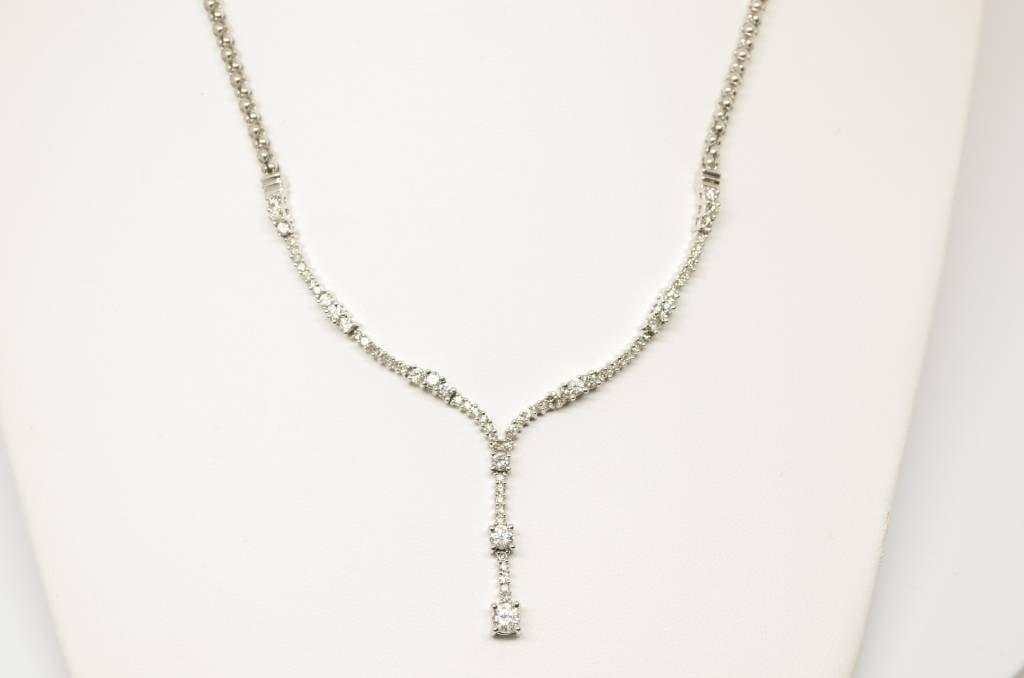 14K White Gold V Shape Fancy Diamond Necklace