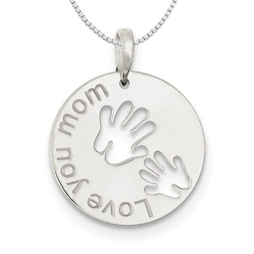 "Quality Gold Sterling Silver ""Love You Mom"" 2 Hand Circle Necklace"