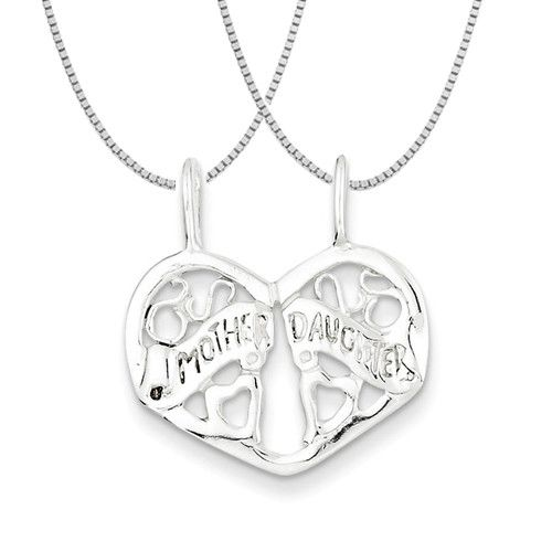 """Sterling Silver Mother/Daughter Break apart Necklace. 16"""" & 18"""" Chains Included."""