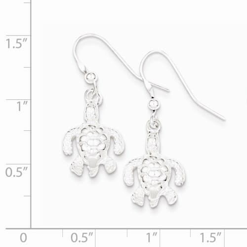 Sterling Silver Polished & Textured Turtle Dangle Earrings
