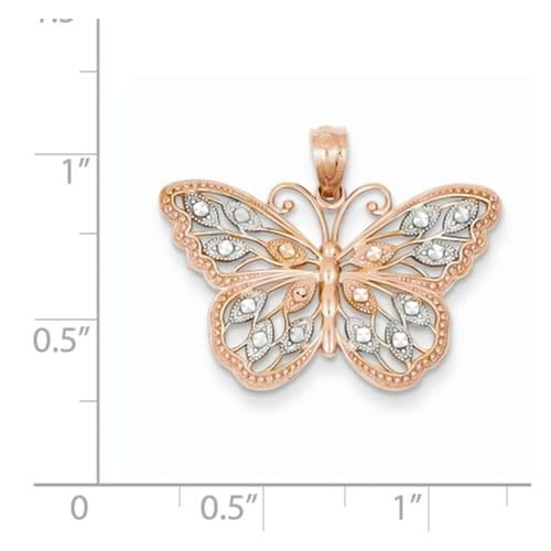 14k Rose Gold Butterfly Pendant on Sterling Silver  3 Strand Chain