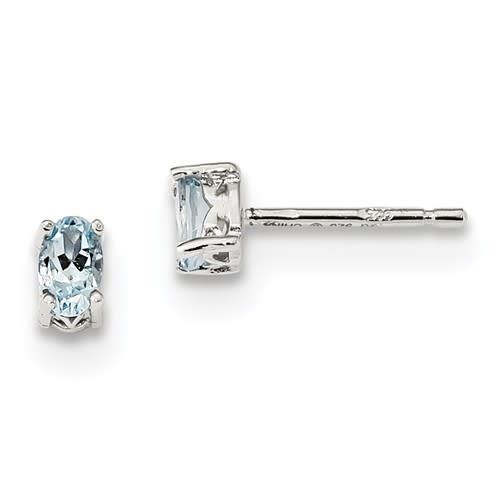 Sterling Silver Rhodium-plated 5x3mm Oval Aquamarine Post Earrings