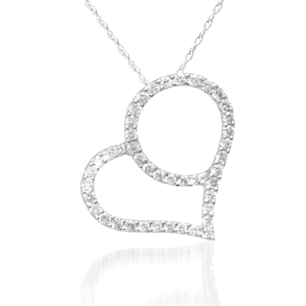 14k white gold diamond heart pendant heathers jewelry 14k white gold diamond heart necklace aloadofball Images
