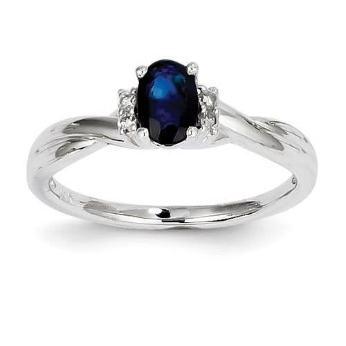 14K White Gold Diamond & Sapphire Ring Size 7