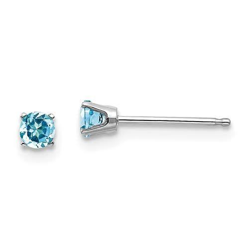 14k White Gold 3mm Blue Topaz Stud Earrings Heather S Jewelry