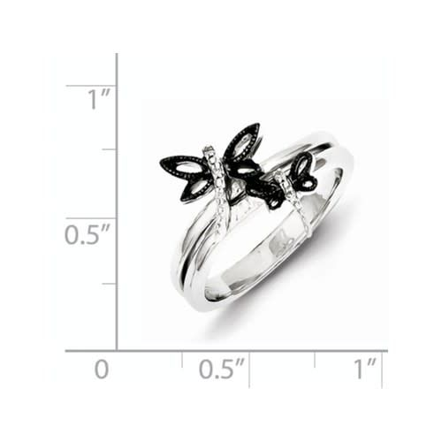 Sterling Silver Diamond Black Rhodium-plated Dragonfly Ring Size 6