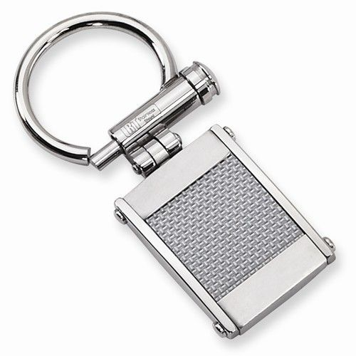 Stainless Steel Brushed and Polished Grey Carbon Fiber Key Ring Special Price!