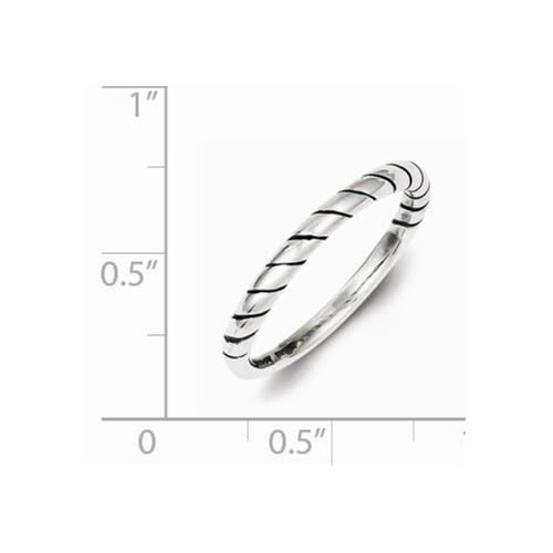 Sterling Silver Stackable Rope Oxidized Ring Size 7